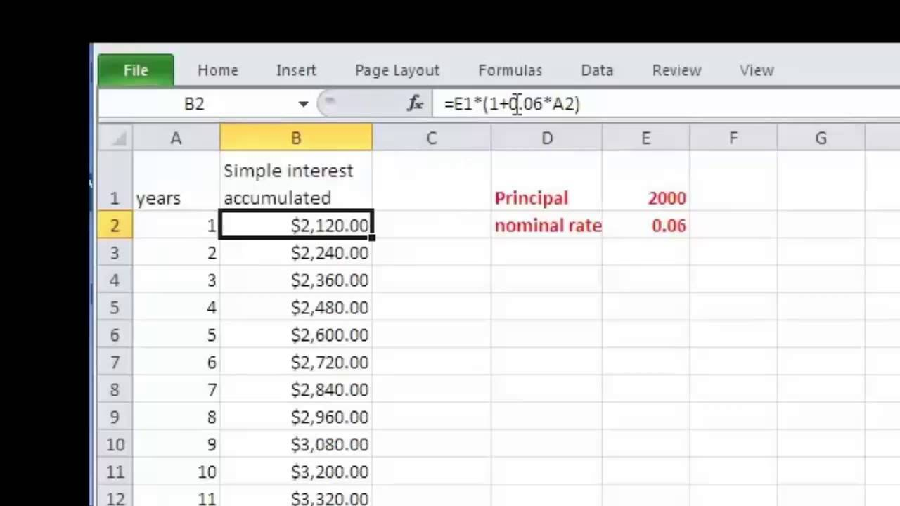 Simple and Compound Interest Schedules in Excel Part I - YouTube