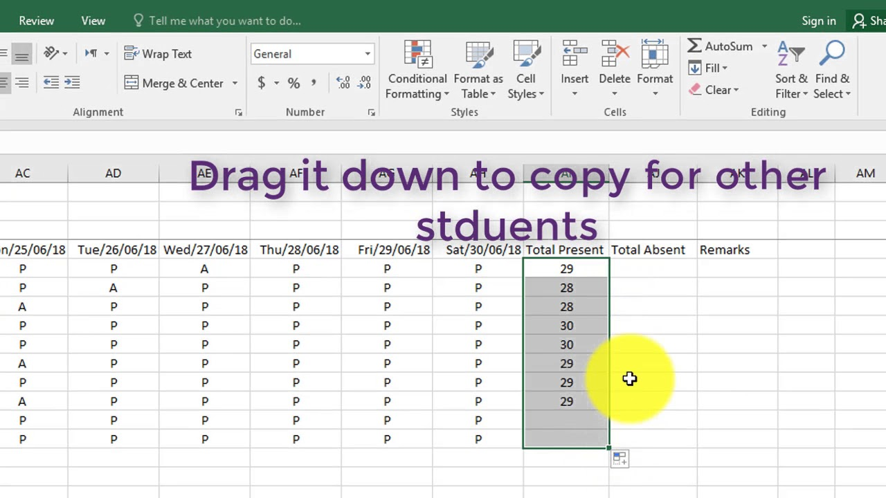 How to Create Attendance Sheet in ms Excel 13