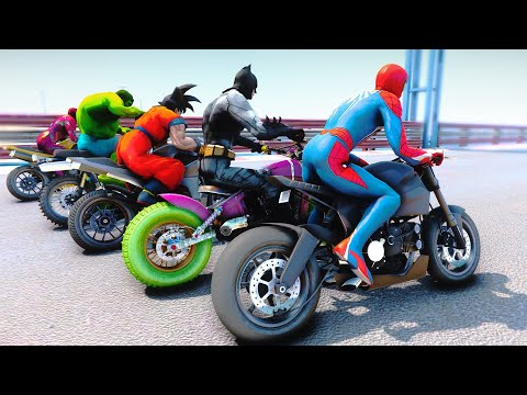 RACING MOTORCYCLE SpiderMan Challenge With Superheroes Batman Hulk Goku Iron Man - GTA V Mods |