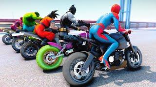 RACING MOTORCYCLE SpiderMan Challenge With Superheroes Batman Hulk Goku Iron Man - GTA V Mods