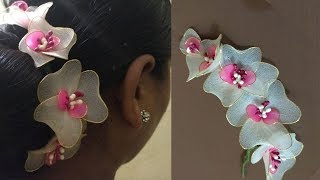 How to make hair brooch | Simple Stocking flowers Making | Stocking Flowers Brooch
