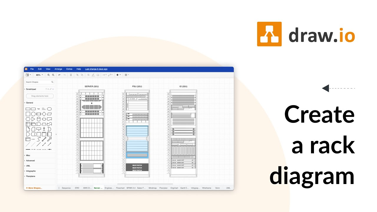 Create a rack diagram for free using draw io