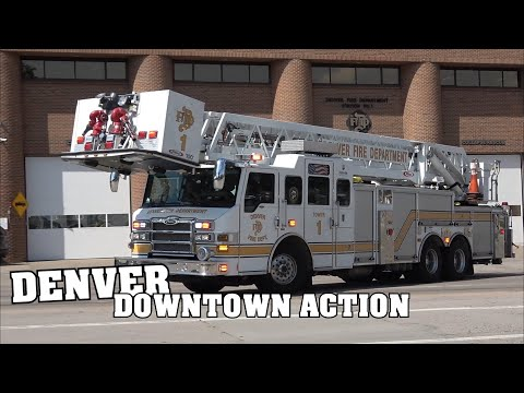 *Blazing Horns & Crazy Sirens!* [DOWNTOWN DENVER] - Fire Department & EMS ACTION!