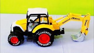 Çocuk Videoları. Oyuncak Kepçe Traktör Yeni İş Makineleri