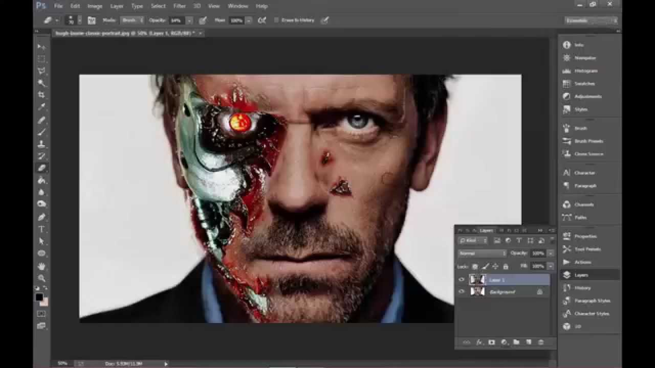 how to draw a terminator face