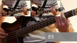 Как играть на бас гитаре Мертвый анархист  - Король и шут  ( видеоурок Guitar riffs) + табы