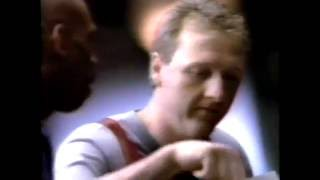 This commercial aired in may 1992. it ends with bird sporting a shaved head after losing bet.