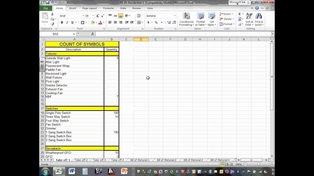 take off sheet template - electrical estimating take off sheets 04 01 14 youtube