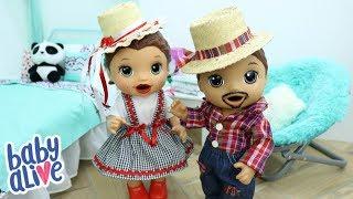 BABY ALIVE GÊMEOS LAURINHA E FELIPINHO SE ARRUMANDO PRA FESTA JUNINA DA ESCOLA