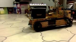 Slippy floor prevents progress with Meccano Steam Tractor