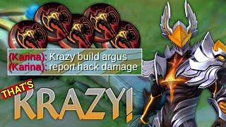 "ARGUS ""KRAZY"" BUILD!! | DAMAGE HACK - MLBB"