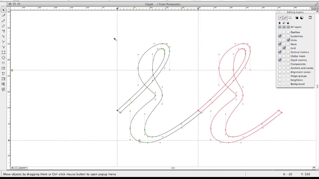 FontLab: creating a smooth connection with the letter 'r