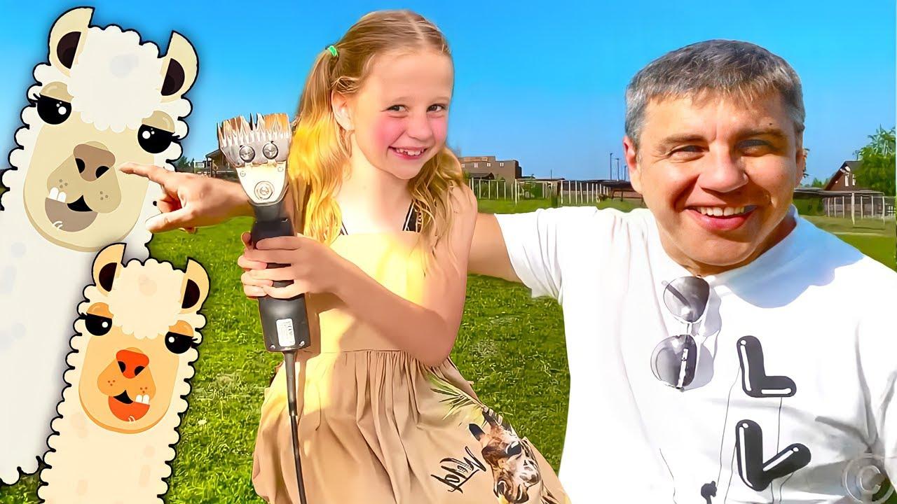 Nastya aprende a cuidar de alpacas e outros animais