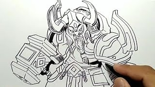 WOW, cara menggambar MINOTAUR mobile legend / how to draw minotaur mobile legend