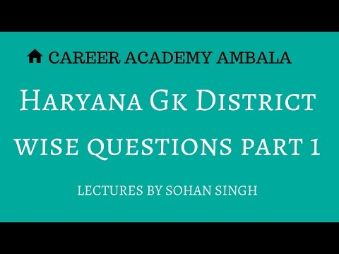 Haryana Gk district wise questions part 1