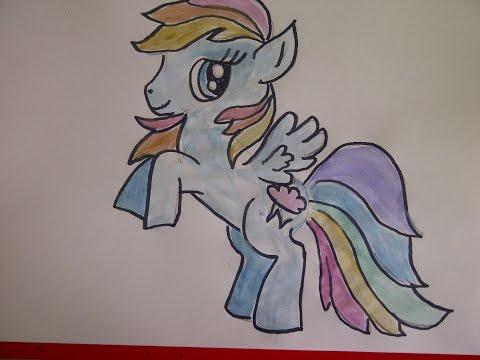 My Little Pony Rainbow Dash zeichnen.  How to draw Pony Rainbow Dash