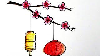 วาดรูป ดอกไม้ โคมไฟจีนเทศกาล วันตรุษจีน How to draw Happy Chinese New Year