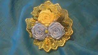 DIY Ribbon rose tutorial. Резиночка для волос с розами Канзаши