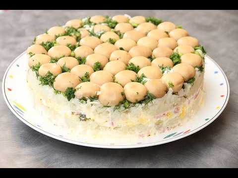 Салат грибная полянка с опятами Кулинарные рецепты с фото