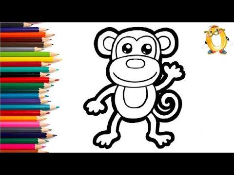 Раскраска для детей ОБЕЗЬЯНКА. Мультик - Раскраска. Учим цвета II ОБУЧАШКА ТВ
