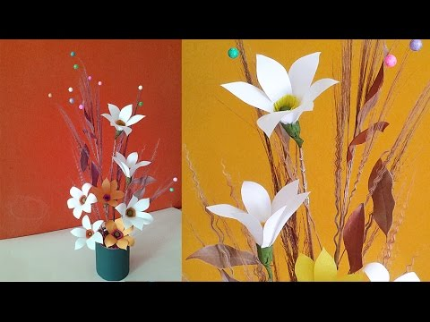 Easy paper flower vase making recycled craft idea best for Easy waste out of best