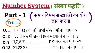 Number System  - संख्या पद्धति  #1 | Math Tricks | For SSC CGL, BANK PO , Railway ,CTET etc