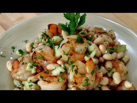 Grilled Shrimp and Cannellini Bean Salad Recipe by Laura Vitale Laura in the Kitchen Ep 125