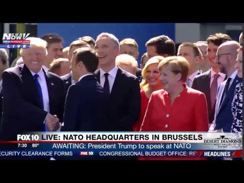 WATCH: First Handshake Between President Trump and French President Macron at NATO Headquarters