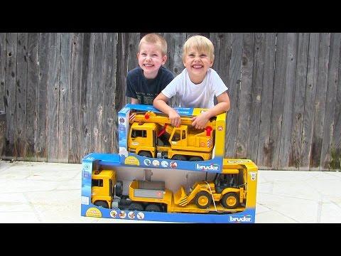 Toy Truck Videos For Children - Toy Bruder Backhoe Excavator, Crane Truck And Tractor Trailer
