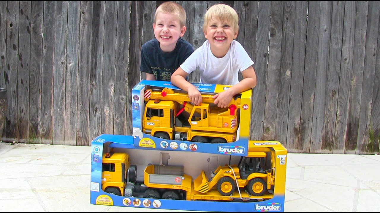 toy truck videos for children toy bruder backhoe excavator crane truck and tractor trailer. Black Bedroom Furniture Sets. Home Design Ideas