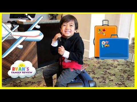 Family Fun Trip Airplane to California! Kid Plays Hide N Seek in Hotel Playtime Ryan's Family Review