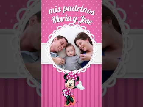Video Invitacion Minnie Mouse Bautismo, Cumplea�os para enviar por Whatsapp
