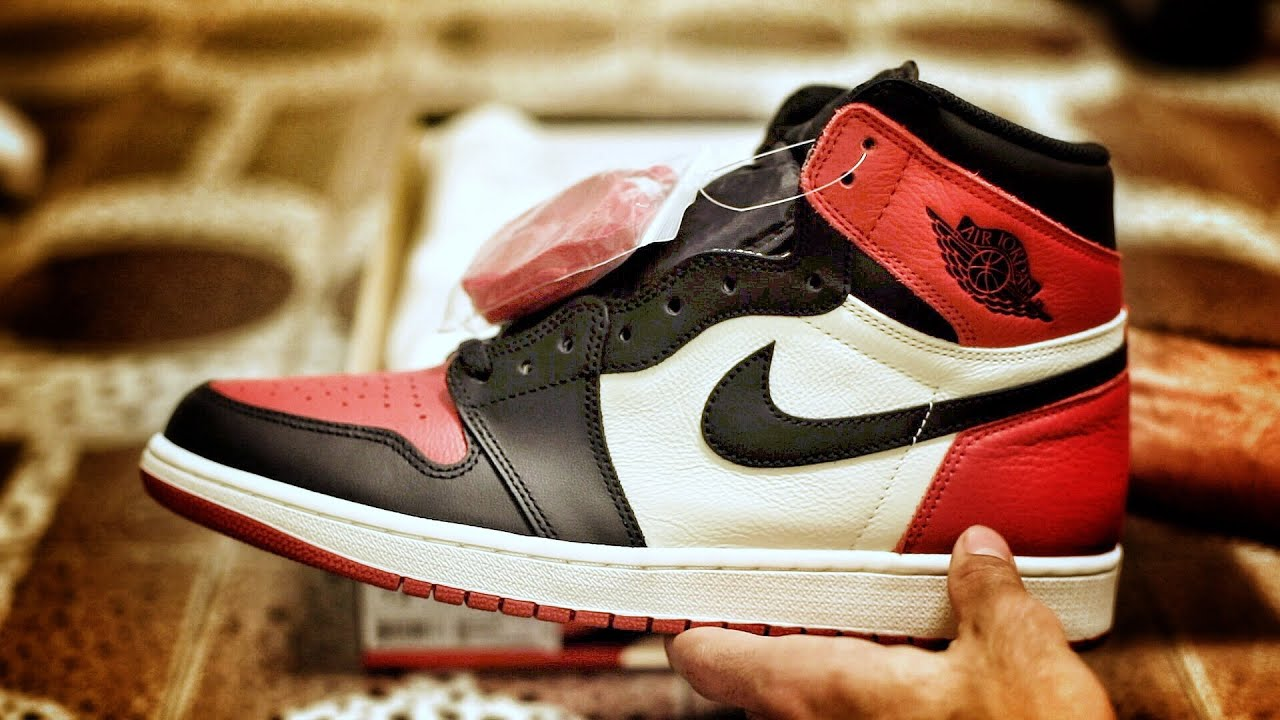 """c7a1bfb885ee Nike Air Jordan 1 Retro High OG """"Bred Toe"""" Sneaker Unboxing Preview and  Legit Check Footage"""