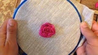 Роза вышитая лентами / Rose embroidered ribbons