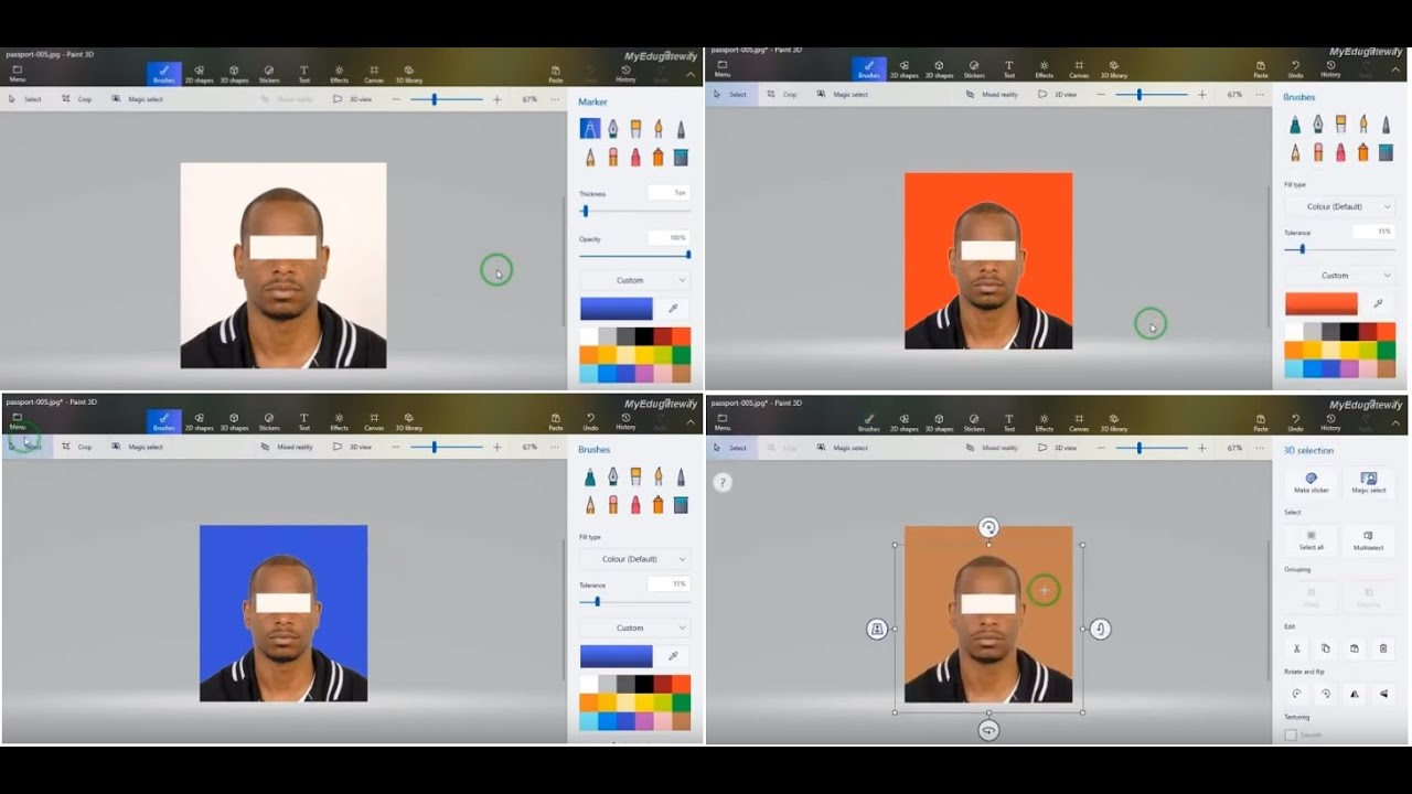How to change background color in paint 3d