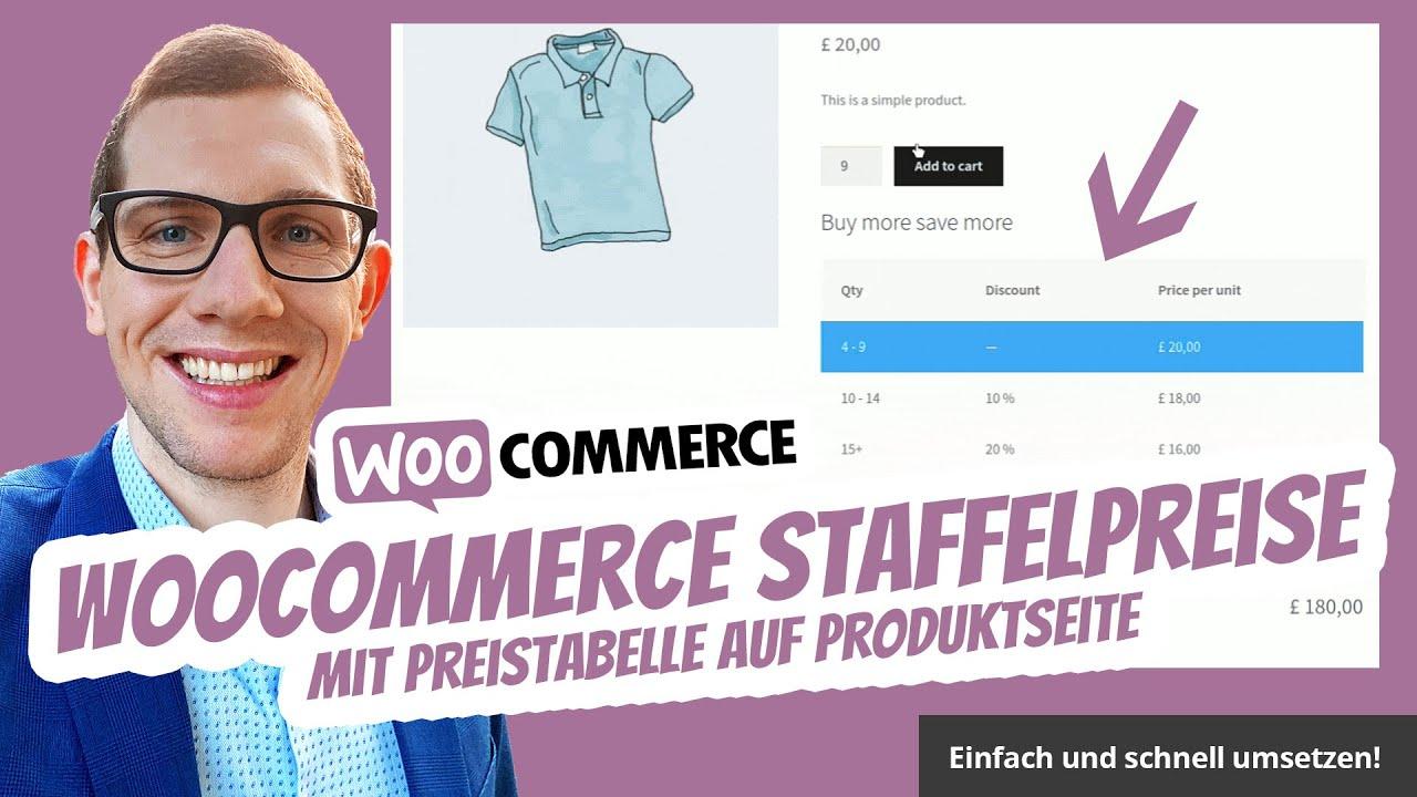 WordPress WooCommerce Staffelpreise mit Preistabelle auf Produktseite  Produktmenge 📋
