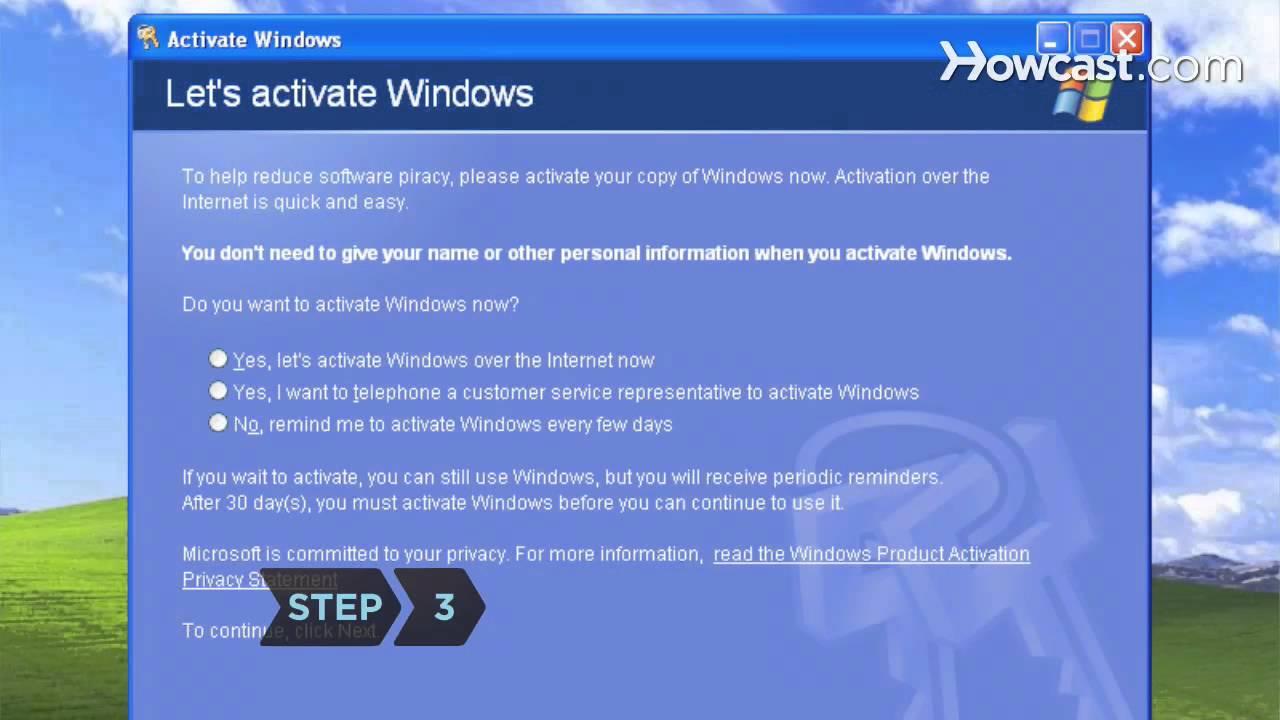 turn off windows xp activation