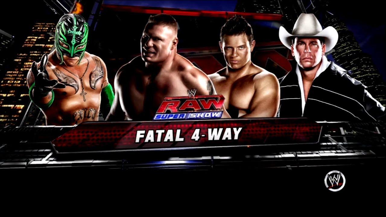 wwe 13 fatal 4way ic title match brock lesnar vs miz vs