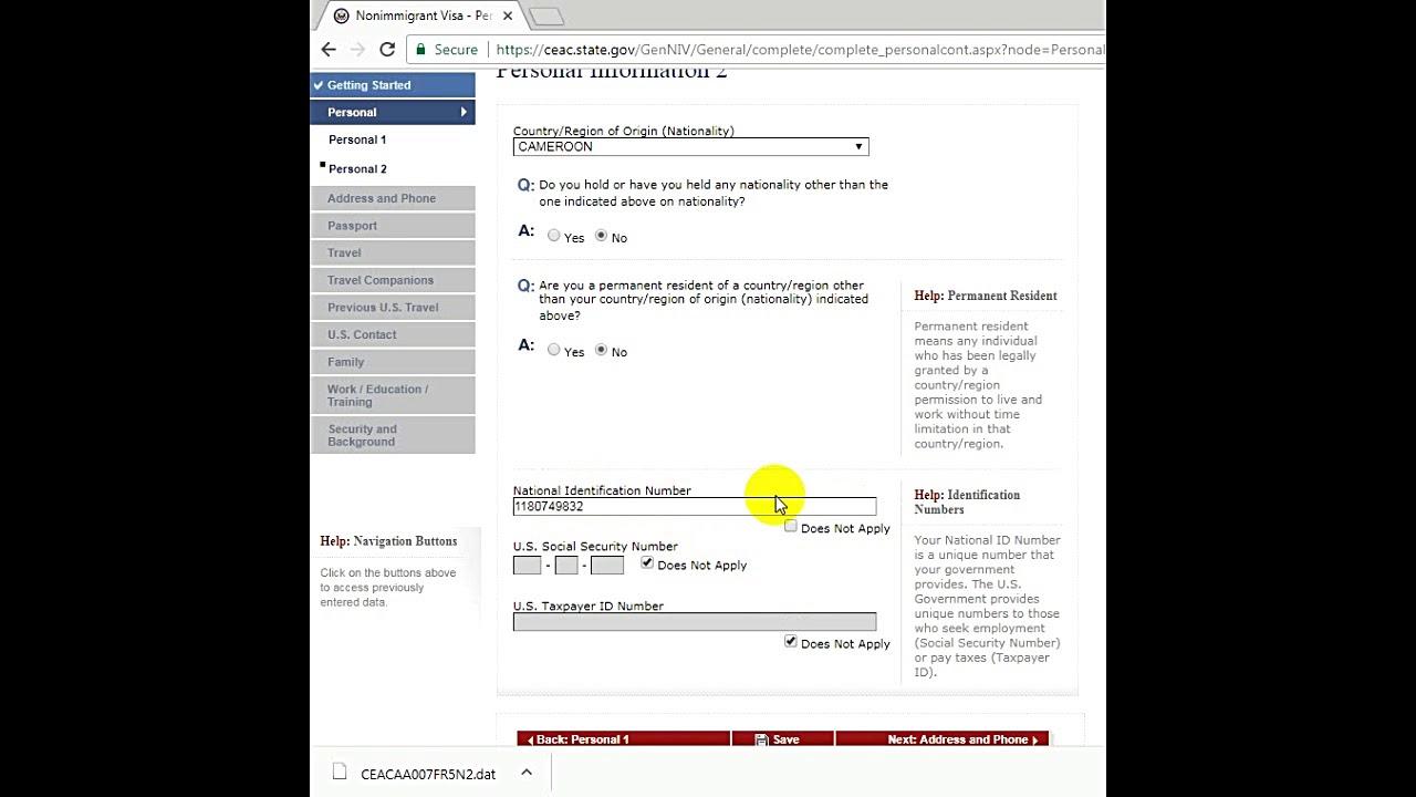 comment remplir le formulaire de demande de visa non