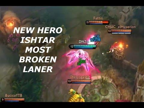 NEW HERO ISHTAR *MOST BROKEN LANER* 19 KILLS! Vainglory 5v5
