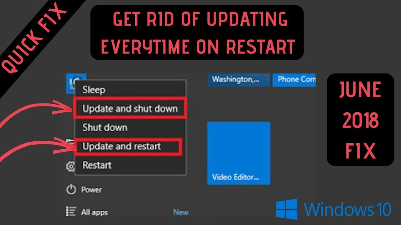 windows 10 shutdown without update