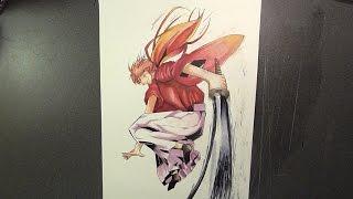 Drawing Kenshin Himura from Rurouni Kenshin || るろうに剣心  [Watercolor painting]