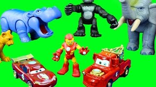 Disney Pixar Iron Man Iron Car Mater & Lightning McQueen go to Jungle to save Imaginext Superman