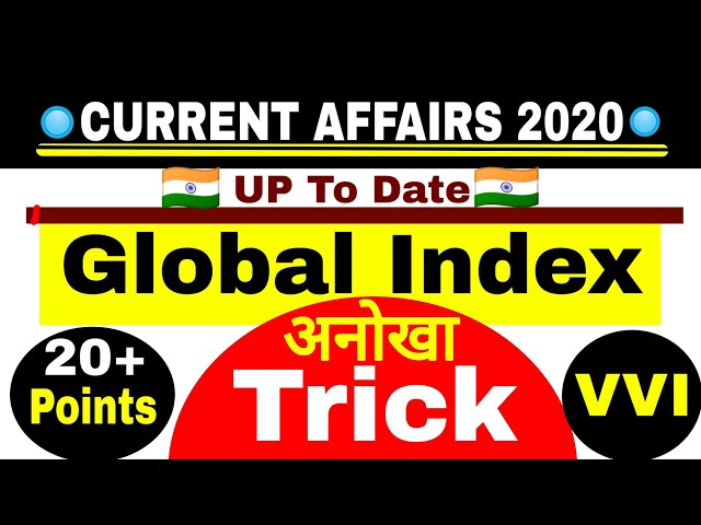🔴 Current Affairs : Global Index 2019 - 2020 India Rank | Global Index Trick in Hindi