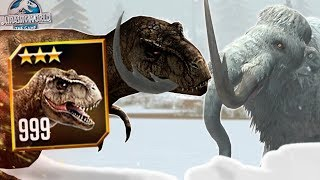LEVEL 999 TYRANNOSAURUS REX VS WOOLLY MAMMOTH! - Jurassic World The Game - *Tournament Gameplay* HD