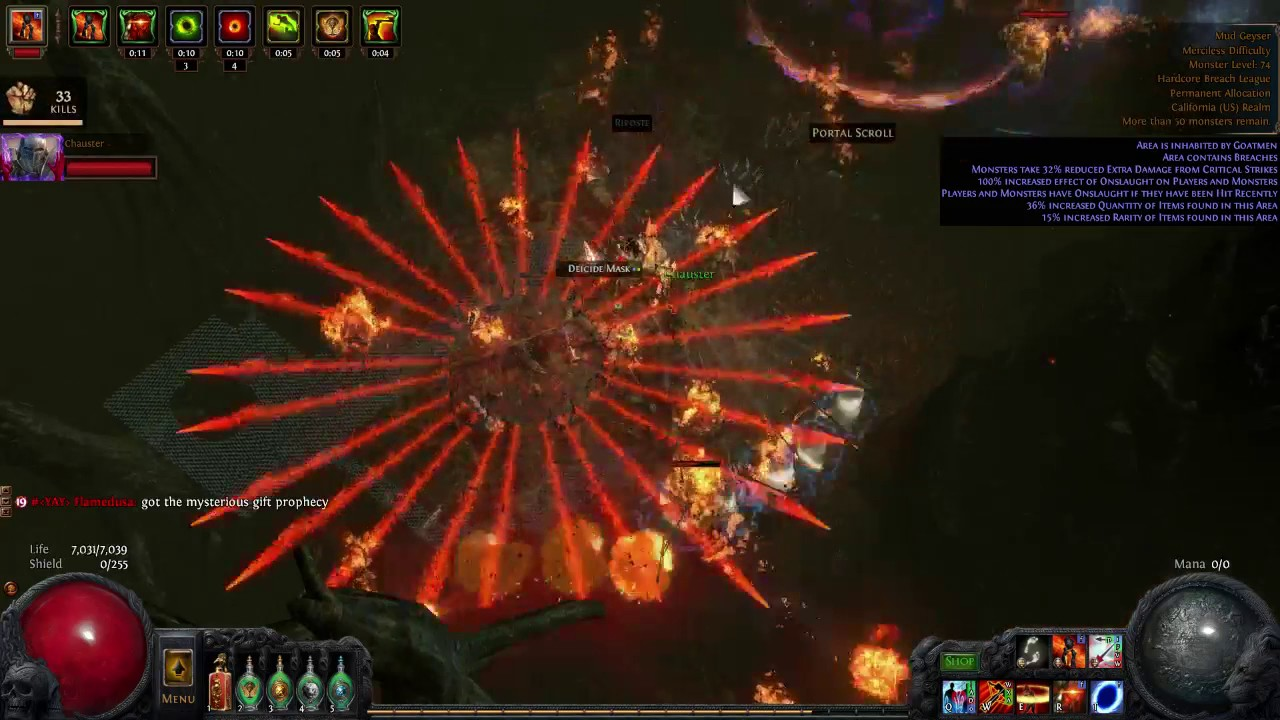 path of exile bhc xoph ignite chieftain gameplay 10 youtube