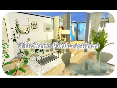 The Sims 4 | Apartment Build: White Tumblr Studio Apartment |ALL CC LINKS!!