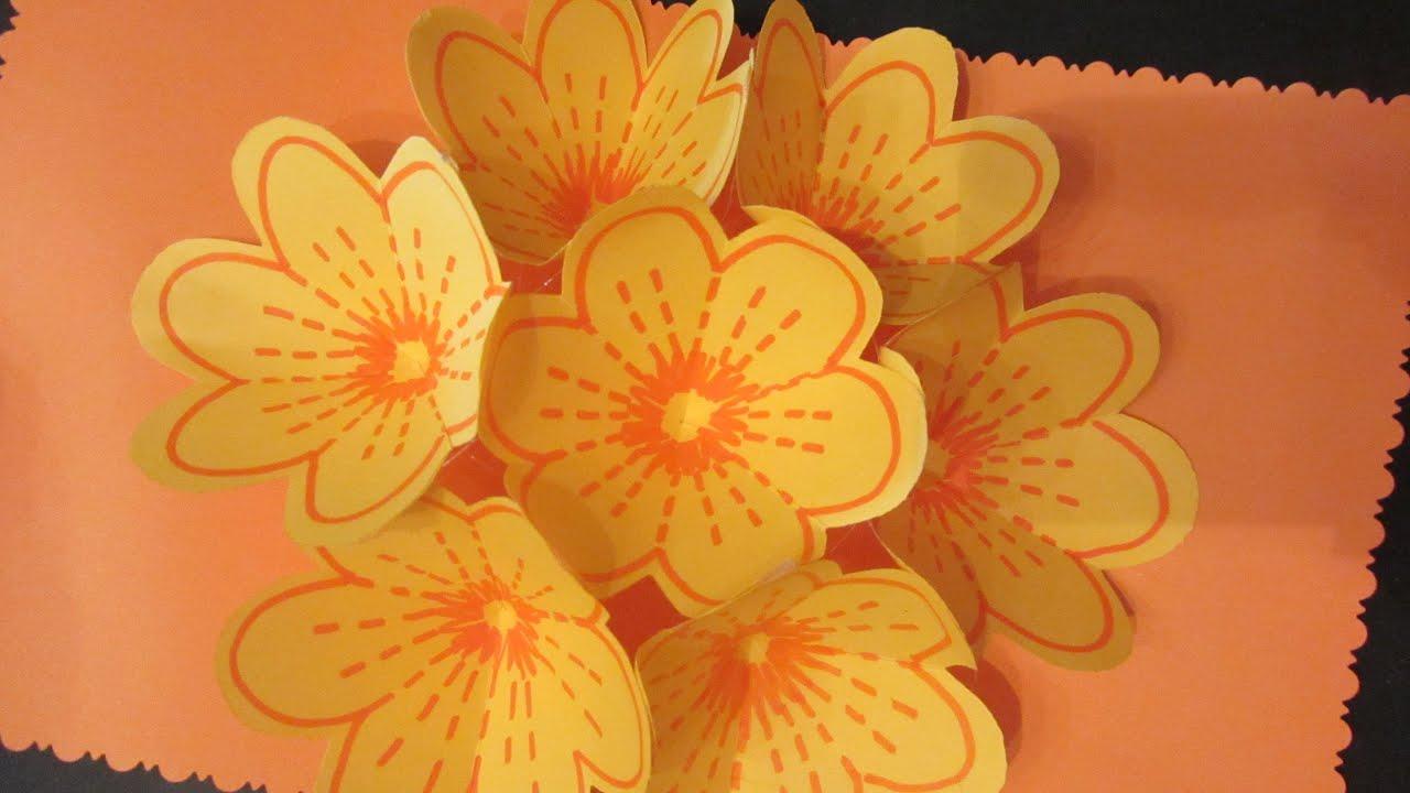 C mo hacer una tarjeta bouquet de flores youtube - Como hacer flores ...
