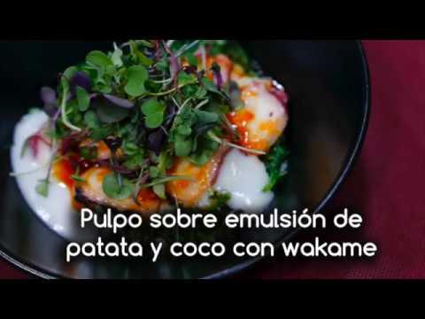 Pulpo sobre emulsión de patata y coco con wakame