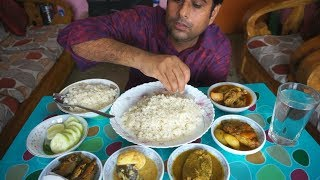 Eating chicken curry, fish fried,air fish curry, egg kurma, with shorse elish | bijoya dasami lunch